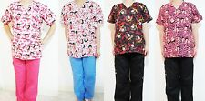 Betty Boop Women Medical Hospital Clinic Nursing Scrub Set Top & Pants S-XL