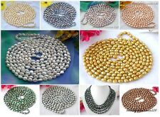 """X0251 long 100"""" 10mm baroque freshwater pearl necklace"""