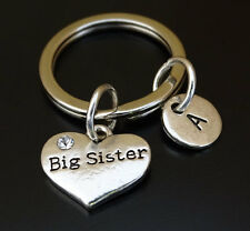 PERSONALIZED Big Sister Keychain - choose your Initial, Big Sister Gift,Sis Gift