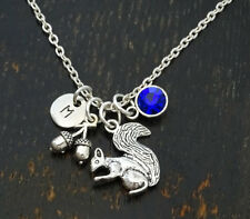 PERSONALIZED Squirrel Necklace - choose your Initial, Squirrel Girl, Oak Charm