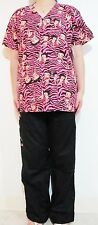 Betty Boop Pink Strip Women Medical Hospital Clinic Nursing Scrub Set XL