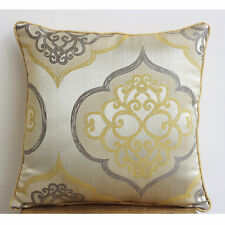 Damask Yellow Jacquard Weave Throw Cushion Covers 30x30 cm - Damask Galore
