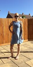 90's Original Vintage Grunge Size 6-8 Floral Tea Dress Sky Blue