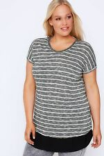 Plus Black & White Stripe Top With Beaded Neckline & Black Hem 16-32