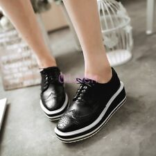 Womens Wing Tip Oxfords Platform Wedge Creeper Lace Up Brogues Shoes Plus Size