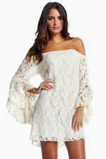Women sexy boat neck off shoulder lace cocktail clubwear party mini dress