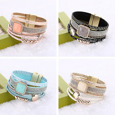 New Lots Rows Leather Wrap Wristband Cuff Punk Crystal Magnetic Bracelet Bangle