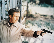 The Getaway Color Poster or Photo Steve McQueen in Mackintosh with Gun