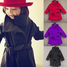 Kid Girl Single-Breasted Woolen Trench Coat Wind Jacket Windbreaker Outwear 2-7Y