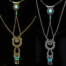 Lady Vintage retro Turquoise Tassel Pendant Long necklace Sweater Chain hot
