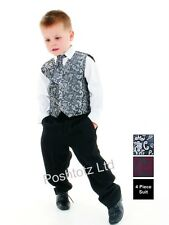 Boys Suits 4 Piece Paisley Silver & Black Formal Suit Wedding Pageboy
