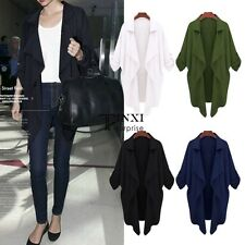 Women's Long Trench Coat Open Neck Redular Outwear Party Career Jacket AU 10-20