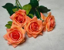 Orange Roses Real Touch Flowers For Silk Wedding Bridal Bouquets Centerpieces