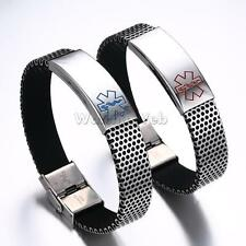 316L Stainless Steel Chain Medical Alert ID Bracelet Bangle Cuff Novelty