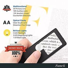 LED Lighted 3X 10X Mini Magnifier with 15X Jewelers Loupe - Small Glass