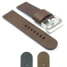 DASSARI Phantom Leather Watch Band Strap for Panerai Brushed Steel Pre-V Buckle