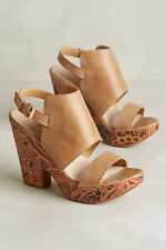 Anthropologie Naya Misty Print Shooties Size 7, Tan Leather Platforms Sandals