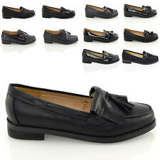 NEW WOMENS LOAFERS SLIP ON FLAT HEEL LADIES SCHOOL WORK OFFICE BLACK SHOES