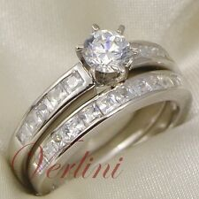 1.5 Ct Round Brilliant Cut Simulated Diamond Wedding Silver Ring Set Size 5-10