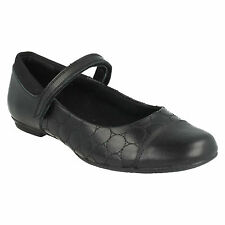 TIZZ WHIZZ GIRLS CLARKS LEATHER RIPTAPE TOE CAP PUMPS MARY JANE SCHOOL SHOES