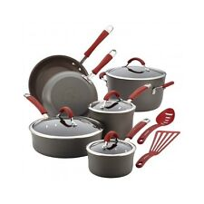 Rachael Ray Cookware Kitchen Set Hard-Anodized Non-stick 12Pc Gray W/Red Handles