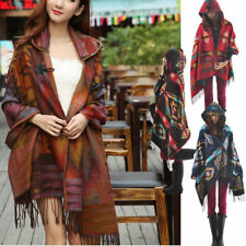 Womens Retro Bohemian Collar Plaid Cape Cloak Poncho Jacket Shawl Scarf Coat New
