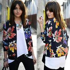 Fashion Womens Casual Jacket Flower Floral Print Zipper Blazer Suit Outwear Coat