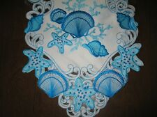"Table Linens Shells White & Blue Runner 67x13  or Topper 34"" square  NIP"