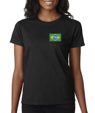 Embroidered Brazilian Flag Brazil Rio Soccer Pride Ladies T-Shirt S-2XL