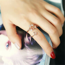 Crystal Finger Ring Open Adjustable Women Butterfly Flower Rings Fashion Jewelry