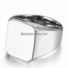 New Mens Polished Stainless Steel Silver-tone Biker Signet Ring Band Size 8-11