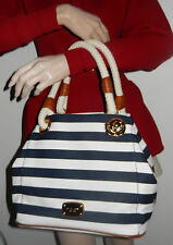 MICHAEL KORS NAVY BLUE/WHT STRIPE MARINA MD GRAB BAG CANVAS TOTE SHOPPER HANDBAG
