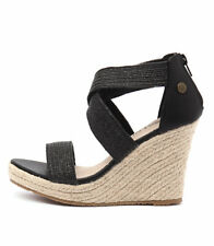 New Walnut Melbourne Dusty Black Women Shoes Sandals Wedges Heels