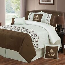 NEW Queen King Bed 7 pc White Brown Tan Embroidered Floral Comforter Set Elegant