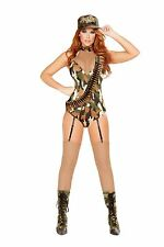 Sexy Roma Sargent Military Army Camo Romper Costume W/WO BULLET BANDOLIER 4687