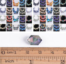 100Pcs Faceted Polygon Hexagon Glass Crystal Loose Spacer Beads 12/16/18/22mm