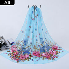 Hot Womens Long Neck Chiffon Scarf Soft Crinkle Shawl Wraps Beach Stole Scarves