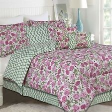 NEW Twin Full Queen King Bed 7 pc Pink Green Lattice Floral Comforter Set NWT
