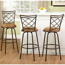Swivel Metal Stools Set of 3 Adjustable Bar Kitchen Height Stool New Black Brown