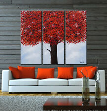 Red tree oil painting by hand-painted canvas abstract modern home decor framed