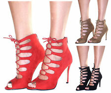 Ladies Womens High Heel Lace Up Caged Sandals New Stiletto Peep Toe Shoes Size