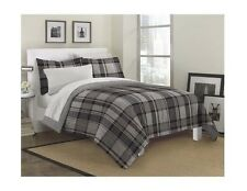 NEW Twin Full Queen Bed Bag 7 pc Gray Black White Plaid Comforter Sheets Set NWT