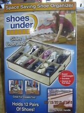 SPACE SAVING UNDER BED SHOE SOCKS OR BELTS STORAGE ORGANIZER  12 PAIRS NEW