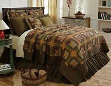 4PC TEA CABIN LODGE LOG COTTON GREEN QUILT PILLOWS CASES BED SET VHC BRANDS