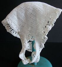 Vintage Antique Baby or Doll White Crocheted Knit Bonnet Hat With Loops