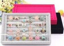 Rings Earring Jewelry Storage Display Tray Box Velvet Organizer Show Case Holder