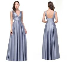 Sexy V neck Backless Satin Pleated Maxi Evening Prom Formal Party Long Dresses