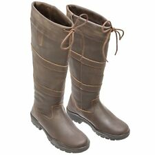 NEW ADULTS BLACK BROWN TALL RIDING YARD WALKING LEATHER COUNTRY BOOTS SIZE 3-8
