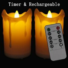 【Rechargeable】Flameless Candles LAPROBING® Set of 2 LED Flickering Pillar