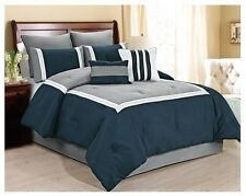 NEW Queen Cal King Bed 8 pc Navy Blue Gray Stripe Comforter Set Embroidered NWT
